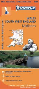 Michelin Regional Map - 503 - Wales, The Midlands & South West England