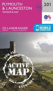 OS Landranger Active - 201 - Plymouth & Launceston, Tavistock & Looe
