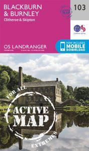 OS Landranger Active - 103 - Blackburn & Burnley, Clitheroe & Skipton