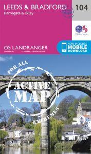 OS Landranger Active - 104 - Leeds & Bradford, Harrogate & Ilkley