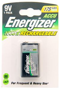 Energizer Rechargable Batteries (175mAh) - 9V NiMh - Single Pack