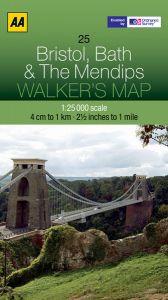 AA - Walker's Map 25 - Bristol, Bath & The Mendips