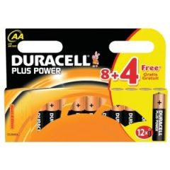 Duracell Plus Power Batteries - AA - Box Of 12 (8 + 4) (20)