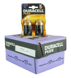 Duracell Plus Power Batteries - D - Box Of 10 Packets (14)