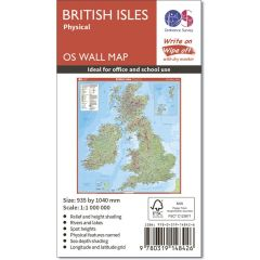 OS Wall Map - British Isles Physical Features Map