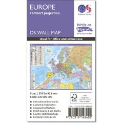 OS Wall Map - Lambert Projection Map Of Europe